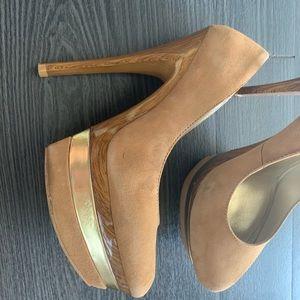 Platform tan high heels